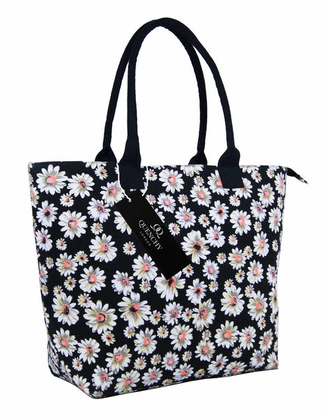 Canvas Shopping Tote Beach Bag Daisy Black QL3151Ks