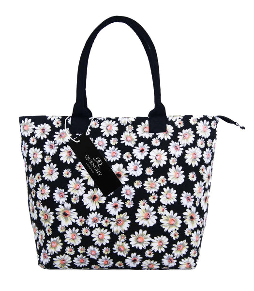 Canvas Shopping Tote Beach Bag Daisy Black QL3151Kf