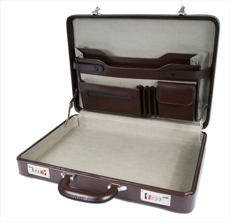 Briefcase Faux Artificial Leather Attache Case RL41B inside view