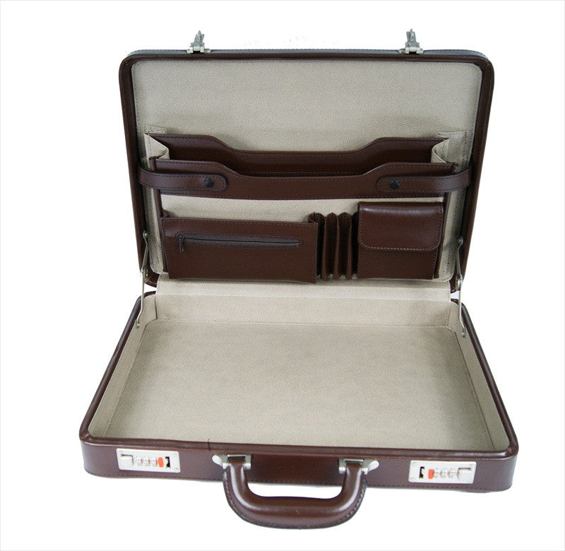 Briefcase Faux Artificial Leather Attache Case RL41B inside view 3