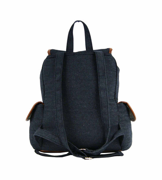 Canvas Denim Jeans Backpack Rucksack Backpacks Bag Bags QL156K rear view