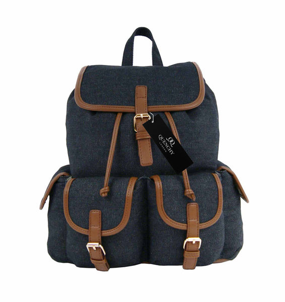Canvas Denim Jeans Backpack Rucksack Backpacks Bag Bags QL156K front view