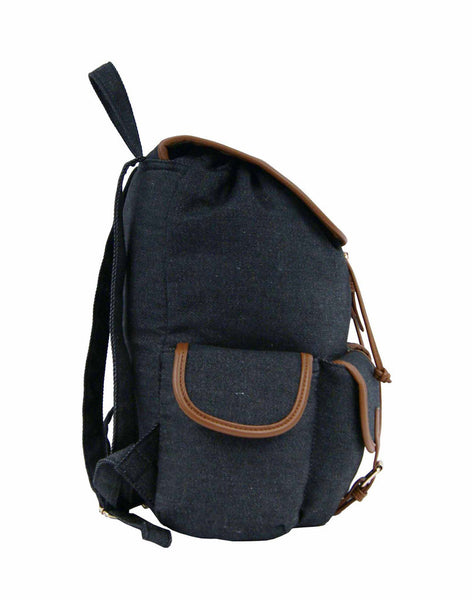 Canvas Denim Jeans Backpack Rucksack Backpacks Bag Bags QL156K side view