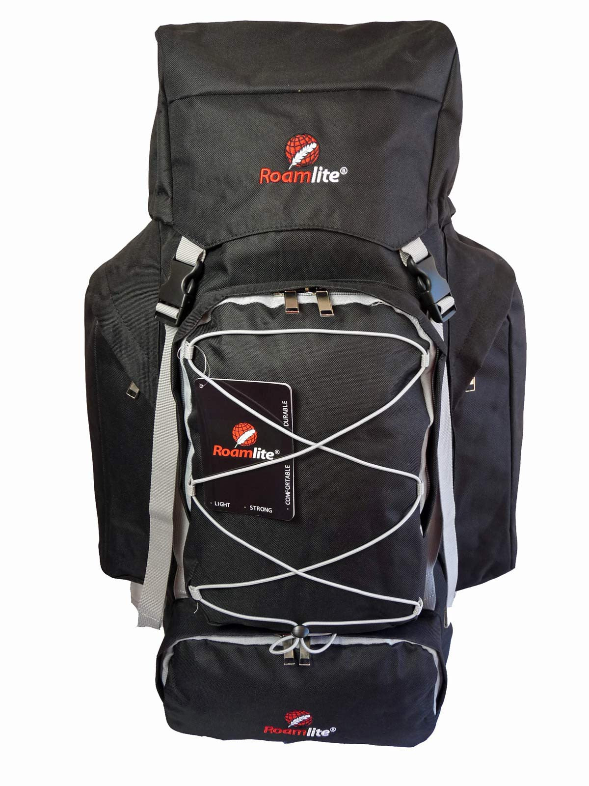 80 100 125 litre backpack black front view