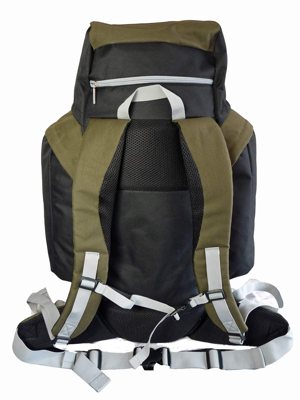 80 100 125 litre backpack green rear view