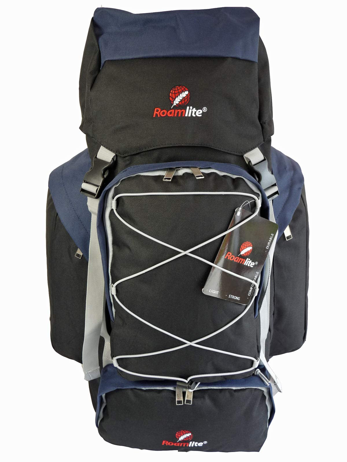 80 100 125 litre backpack navy blue front view