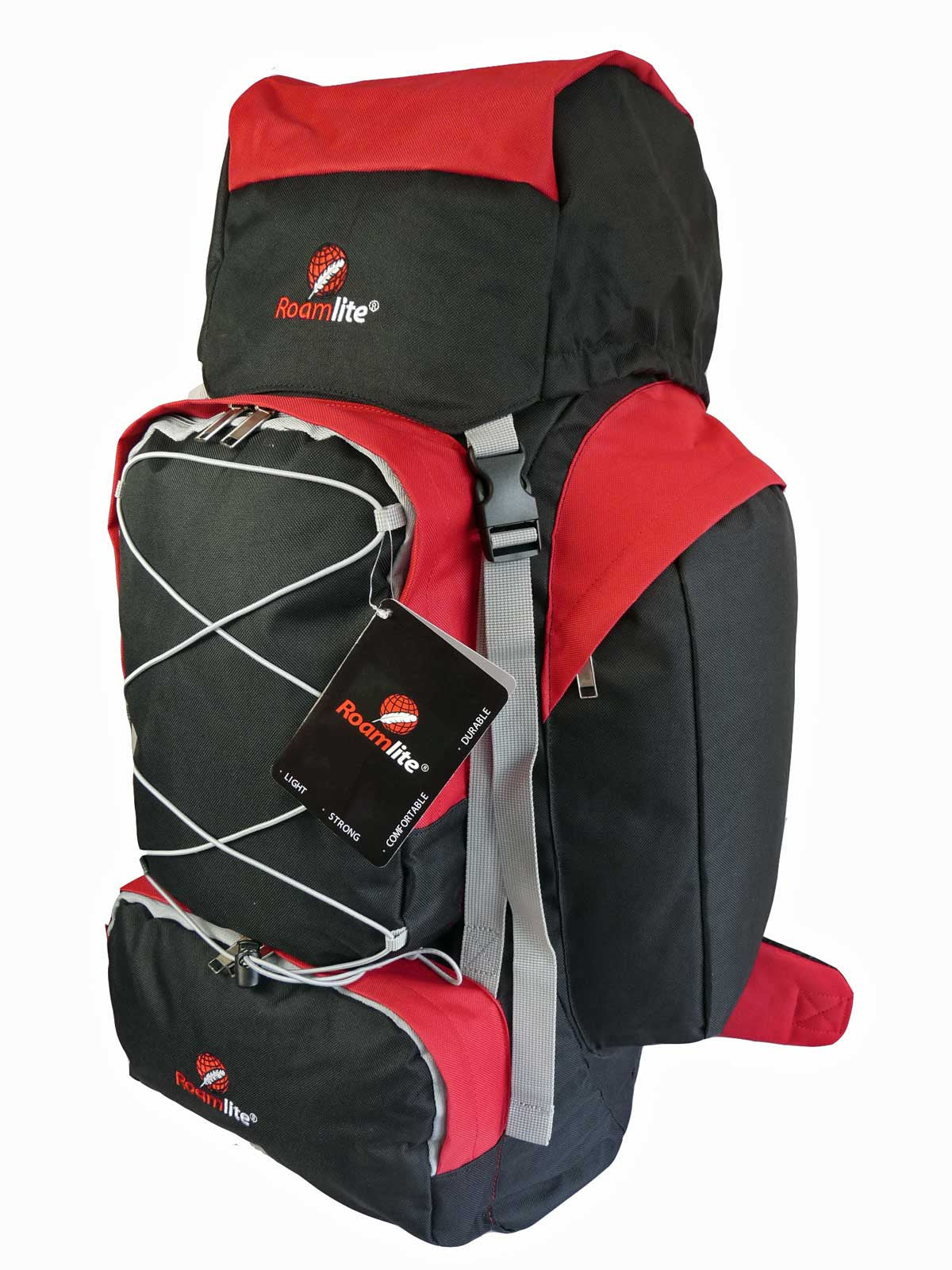 80 100 125 litre backpack red side view