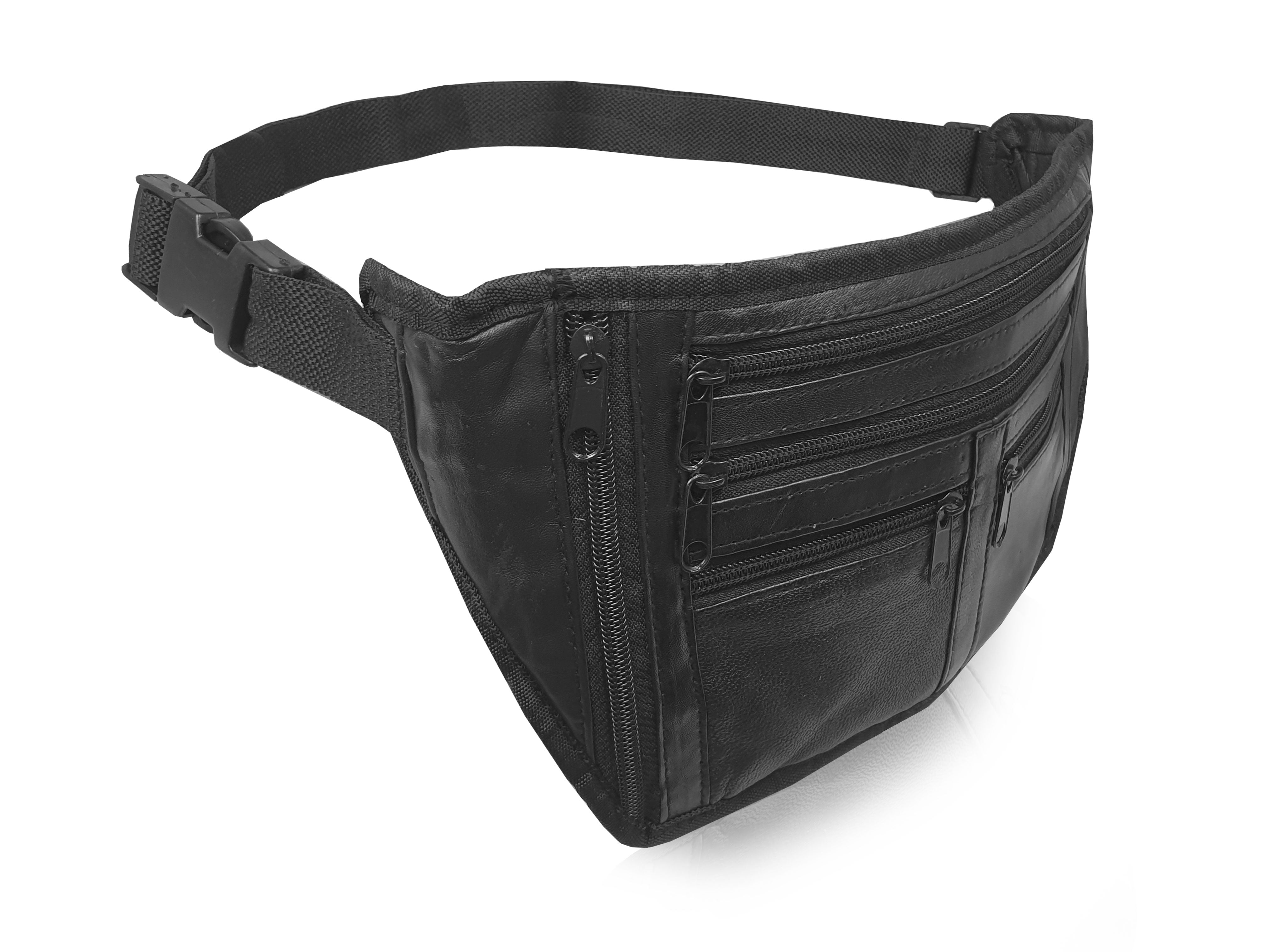 Slim Travel and Holiday Waist Pouch - Real Leather Flat Money Belt 914