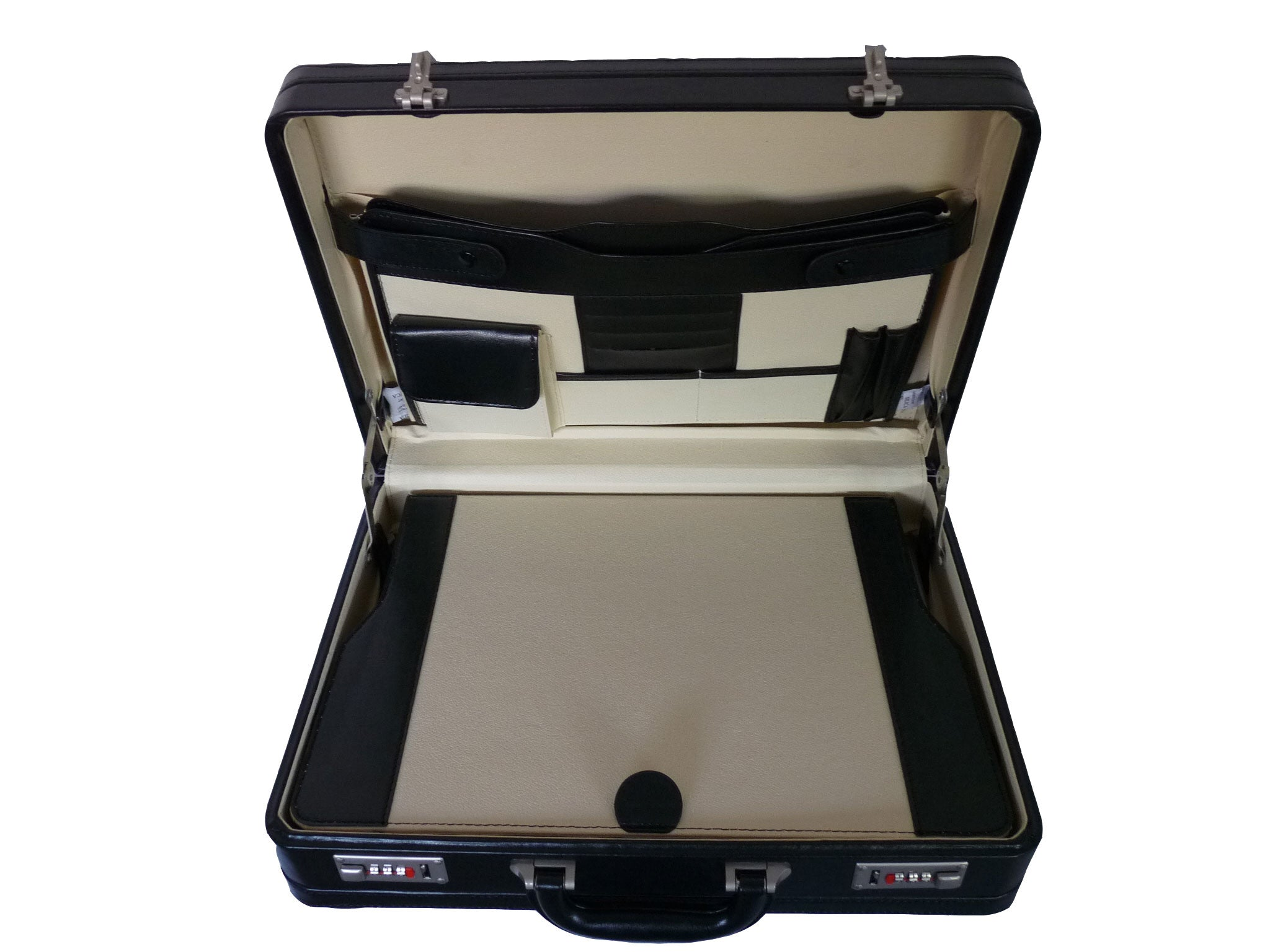 Leather DOUBLE expandable briefcase BLACK RL318B inside view 2