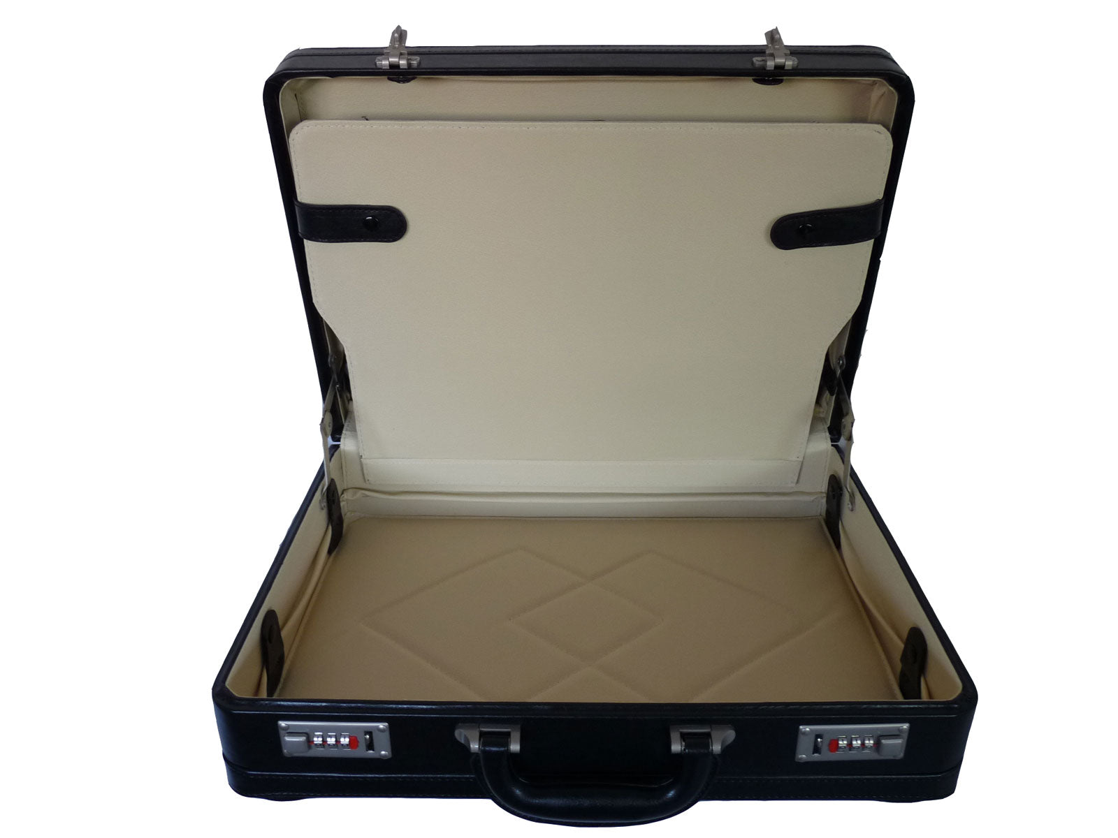 Leather DOUBLE expandable briefcase BLACK RL318K inside view 2