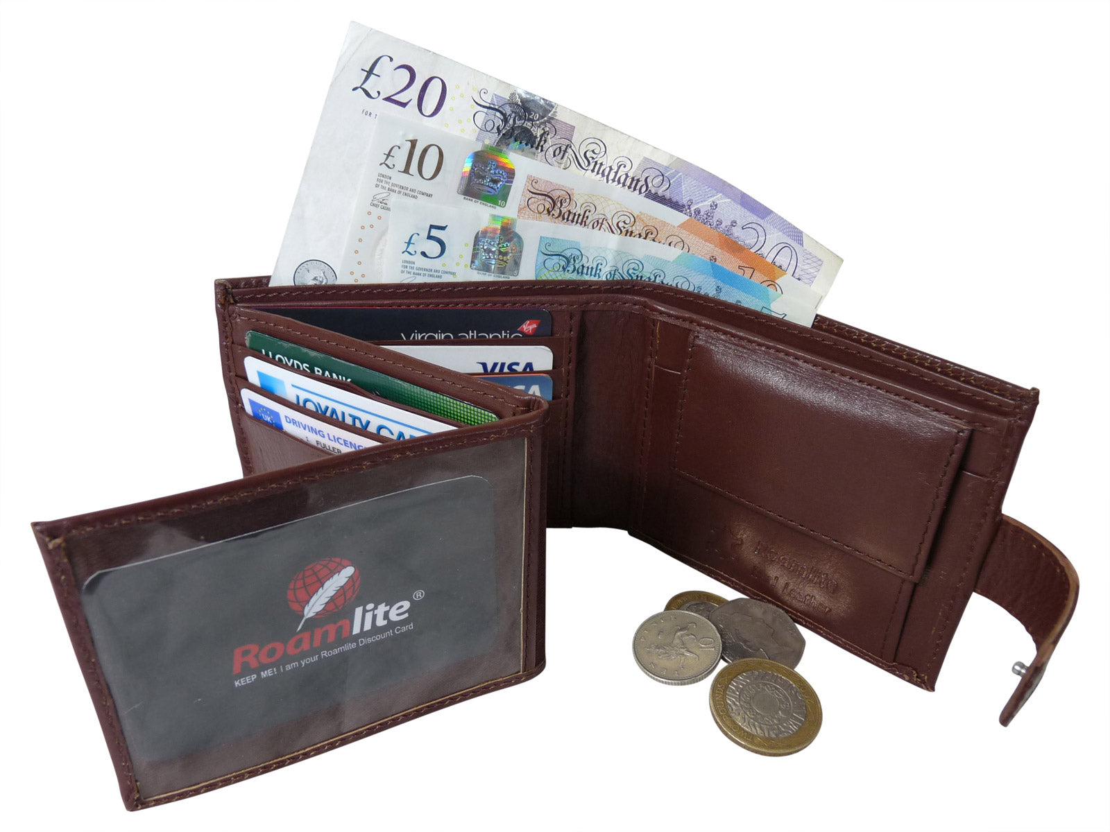 Black Leather Cards Notes and Coins Wallet RL374LB inside2