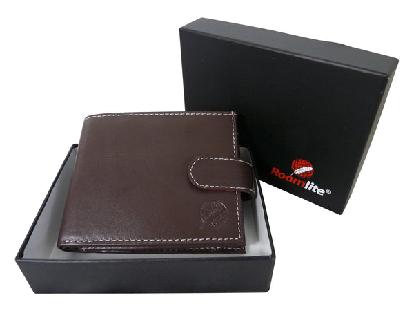 Mens Leather Wallet Credit Cards RL507DB gift boxed