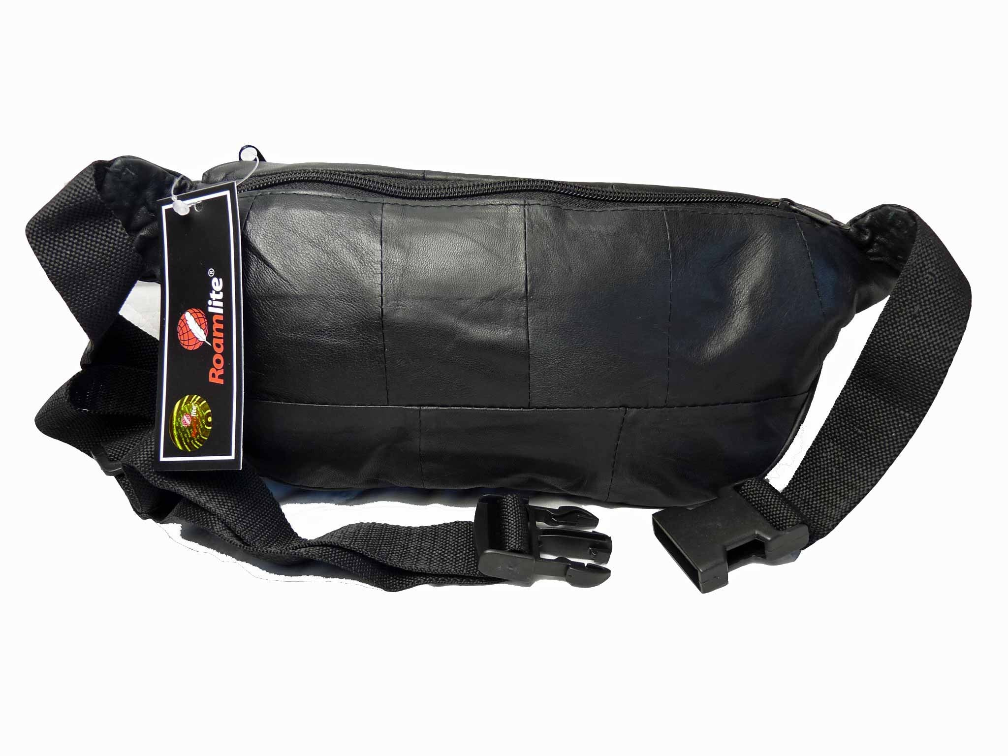 Leather Bumbag Soft Leather Black Bum Bag RL142 REAR VIEW
