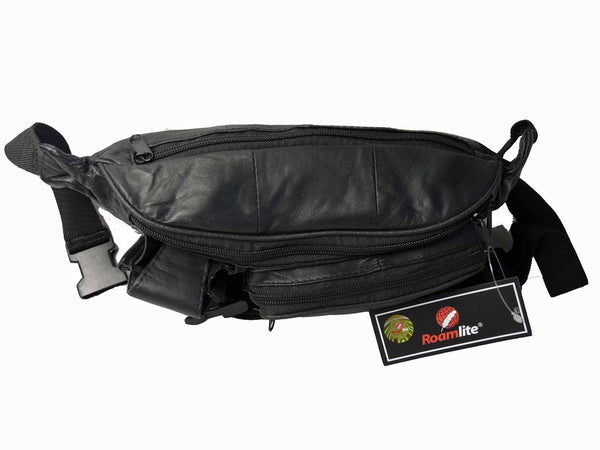 Leather Bumbag Soft Leather Black Bum Bag RL142 BASE VIEW