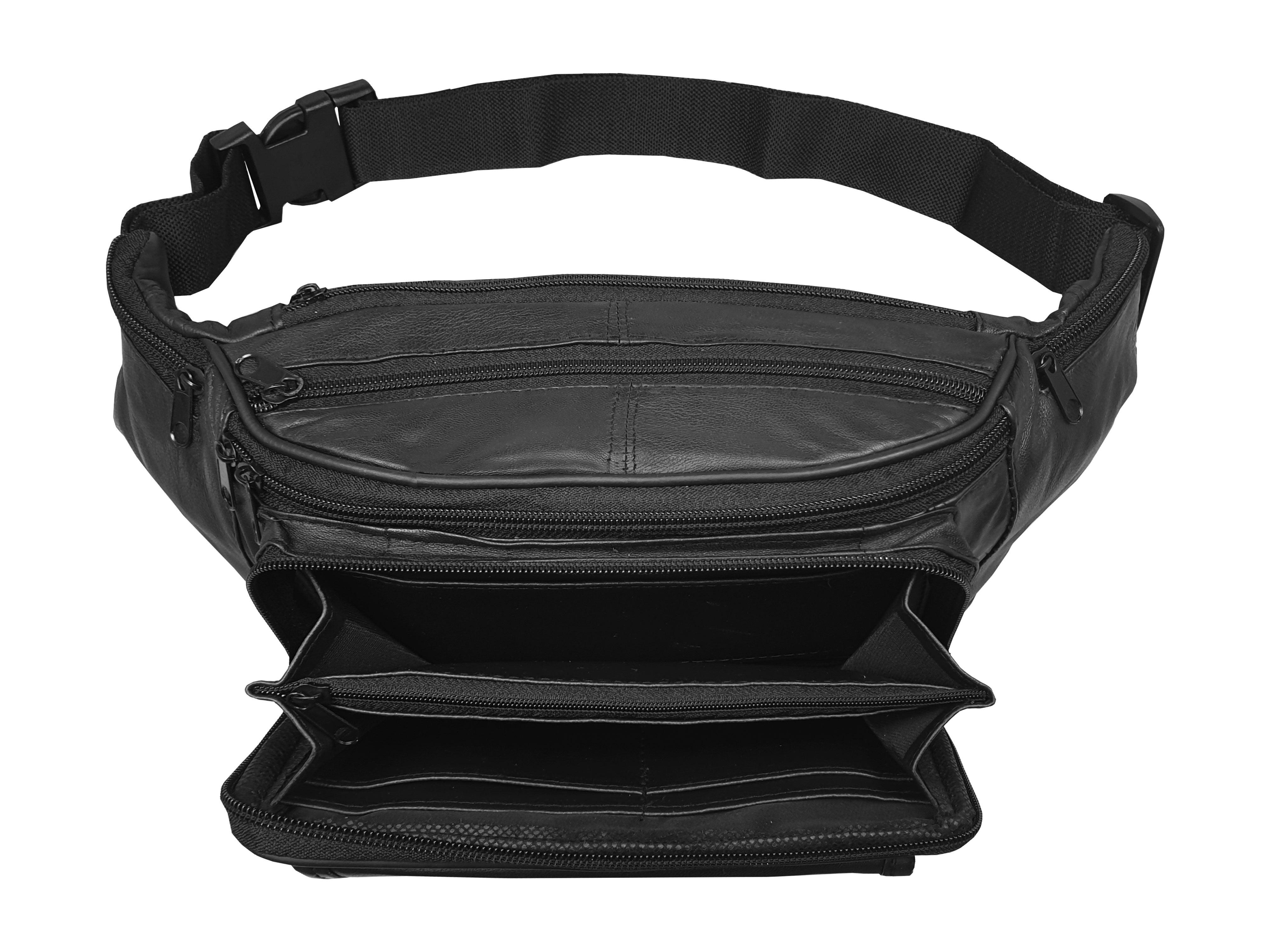 Real Leather Travel Bumbag, Extra Large 35-51 inch Waist, Heavy Duty
