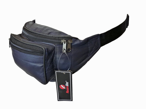 Leather Bumbag RL700MB Midnight Blue Side View