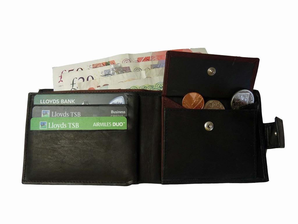 Premium leather mens mans credit card wallet RL32AWBu inside view 1