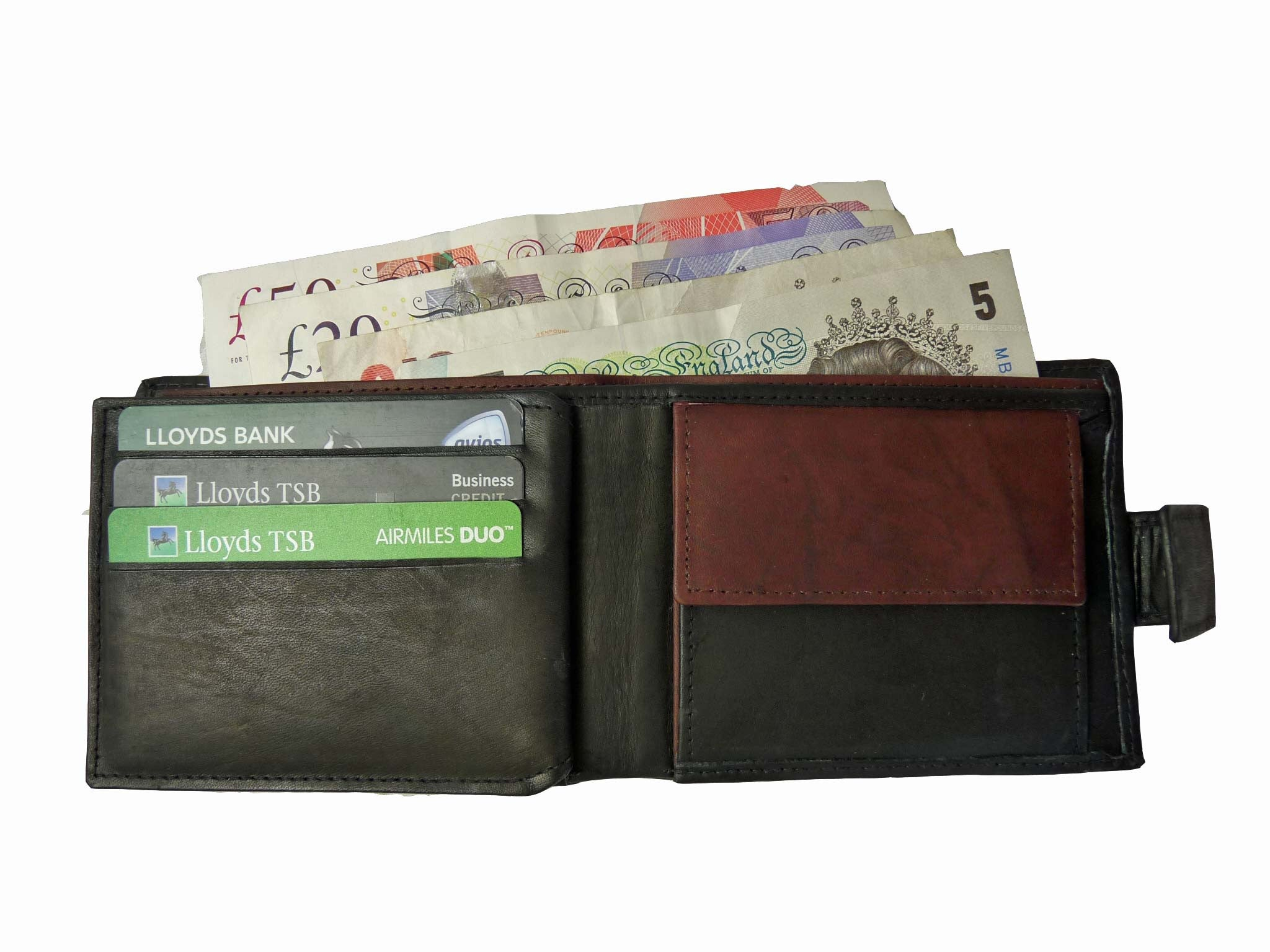 Premium leather mens mans credit card wallet RL32AWBu inside view 3