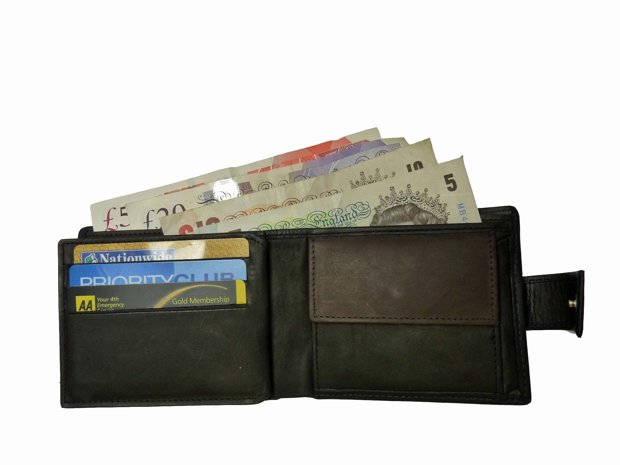 Premium leather mens mans credit card wallet RL32AWB inside view 4