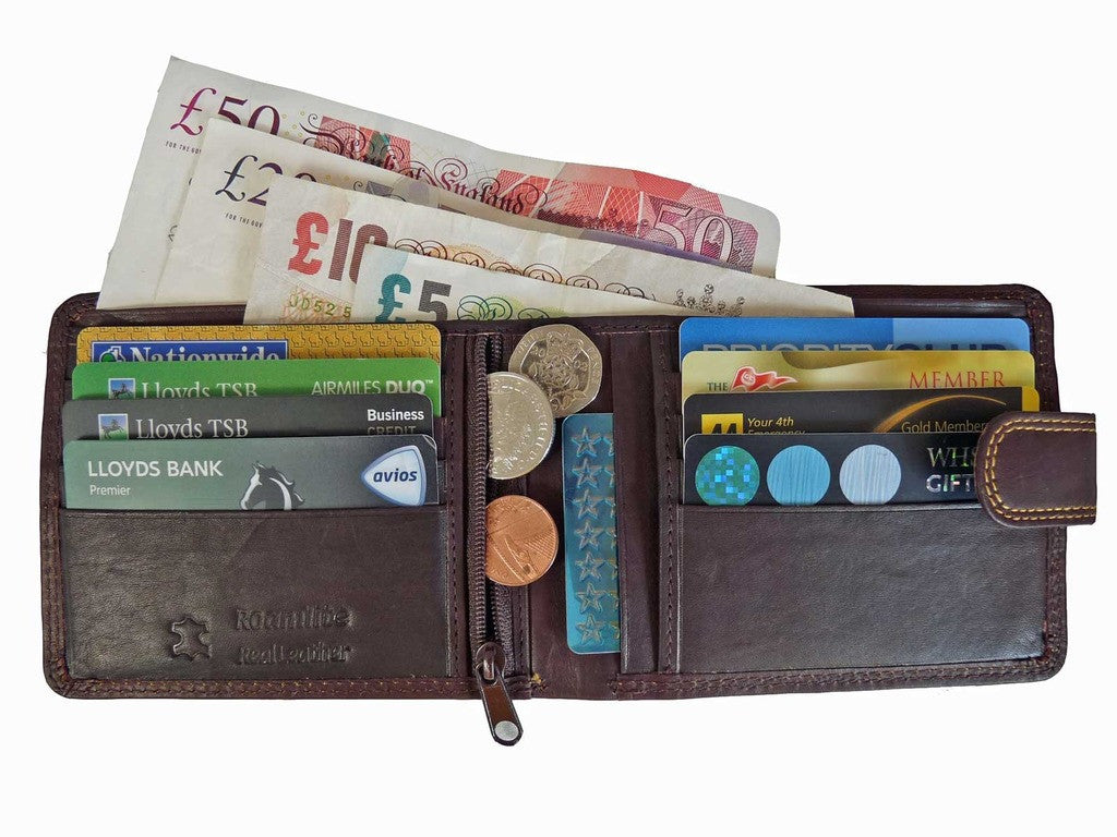 REAL Leather Mens Gents Slimfold Jeans Wallets Roamlite RL410AWB