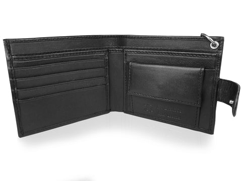 Leather Men's Chained Wallet, RFID Protected Card Slots, Coin Pocket - Mans Gift