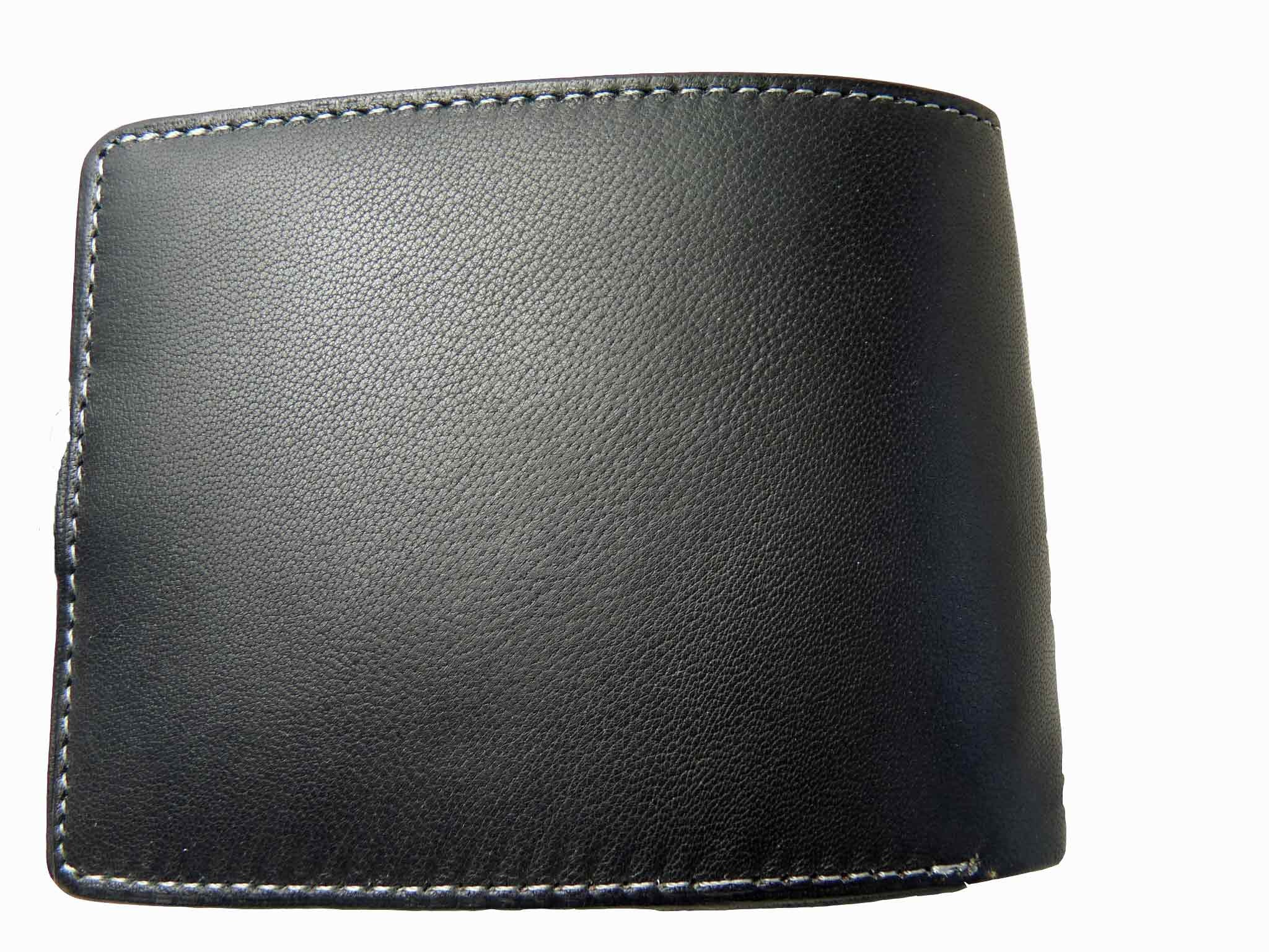 Mens Leather Wallet Credit Cards Black RL507 rear view