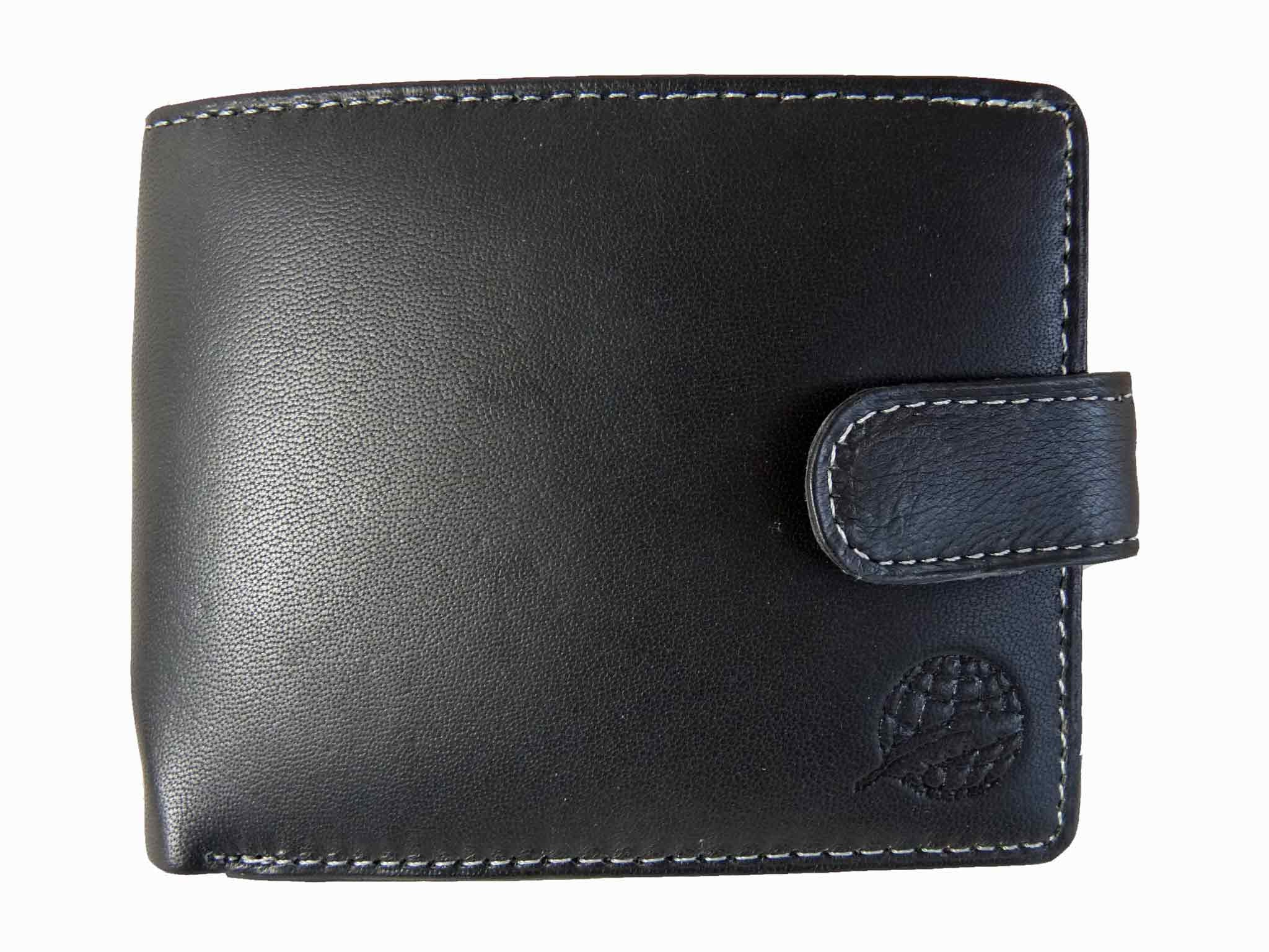 Mens Leather Wallet Credit Cards Black RL507 front view