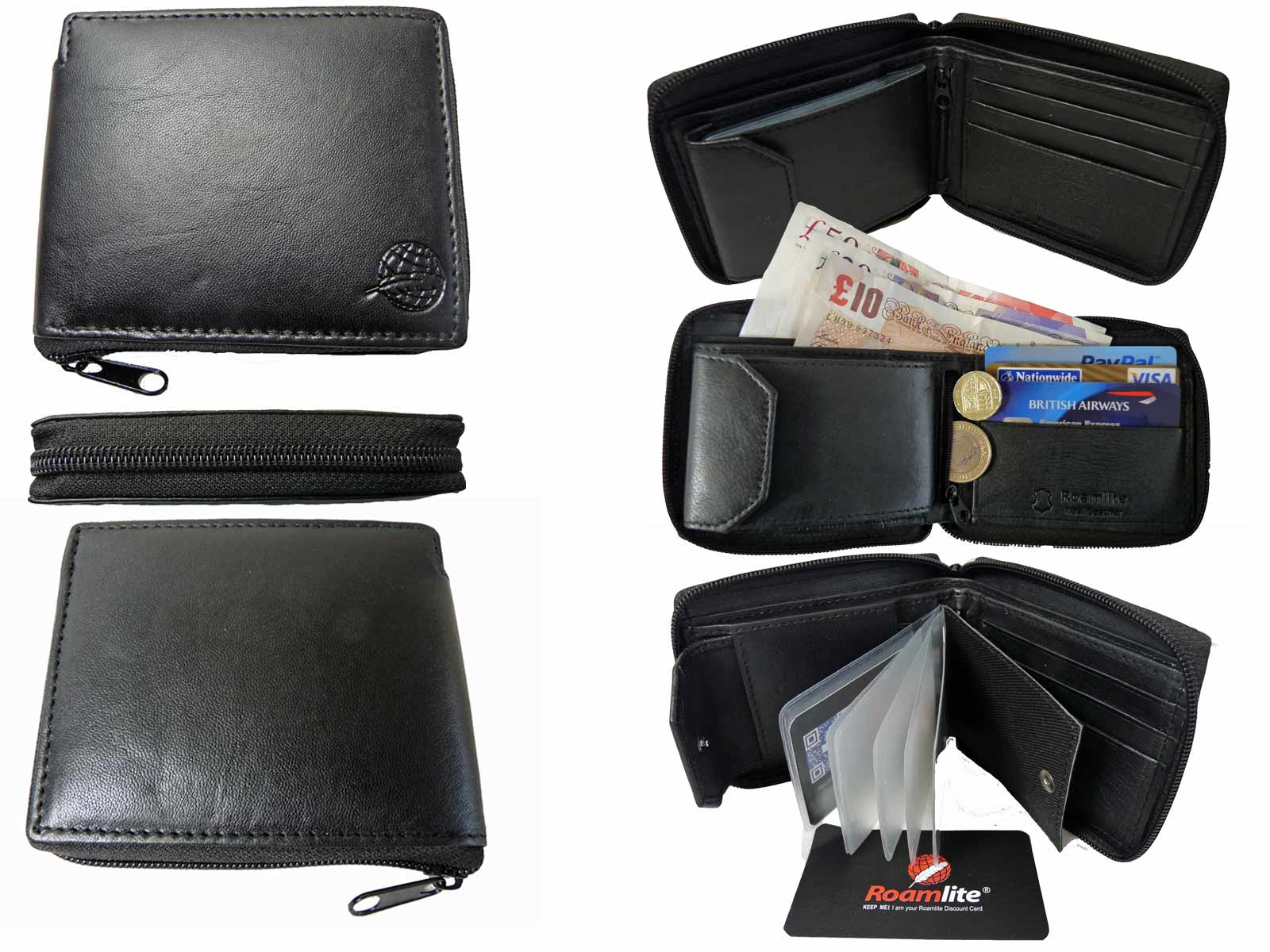 Zip around mens leather wallet RL184K all views