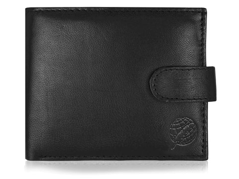 Men's Real Leather Wallet, Buttoned Closure, Zipped Coin Section RL180
