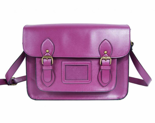 Leather Satchel Cross Body QL525Pu front view
