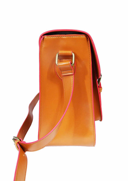 Leather Satchel Cross Body QL525T side view 2