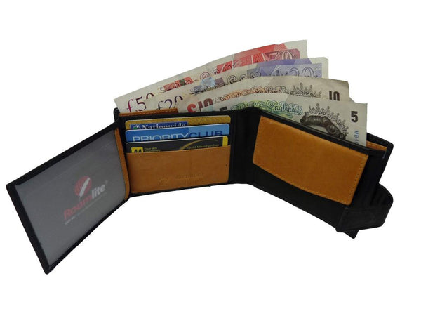 leather mens mans credit card wallet RL359AWBu inside view 2