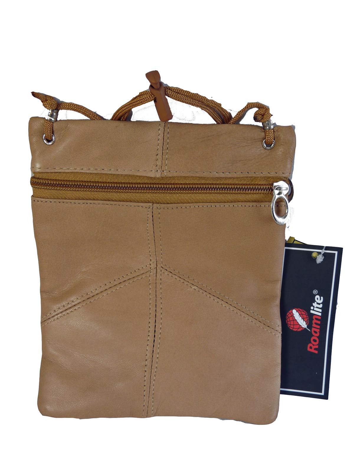 Leather Neck Pouch RL130 Beige Rear View