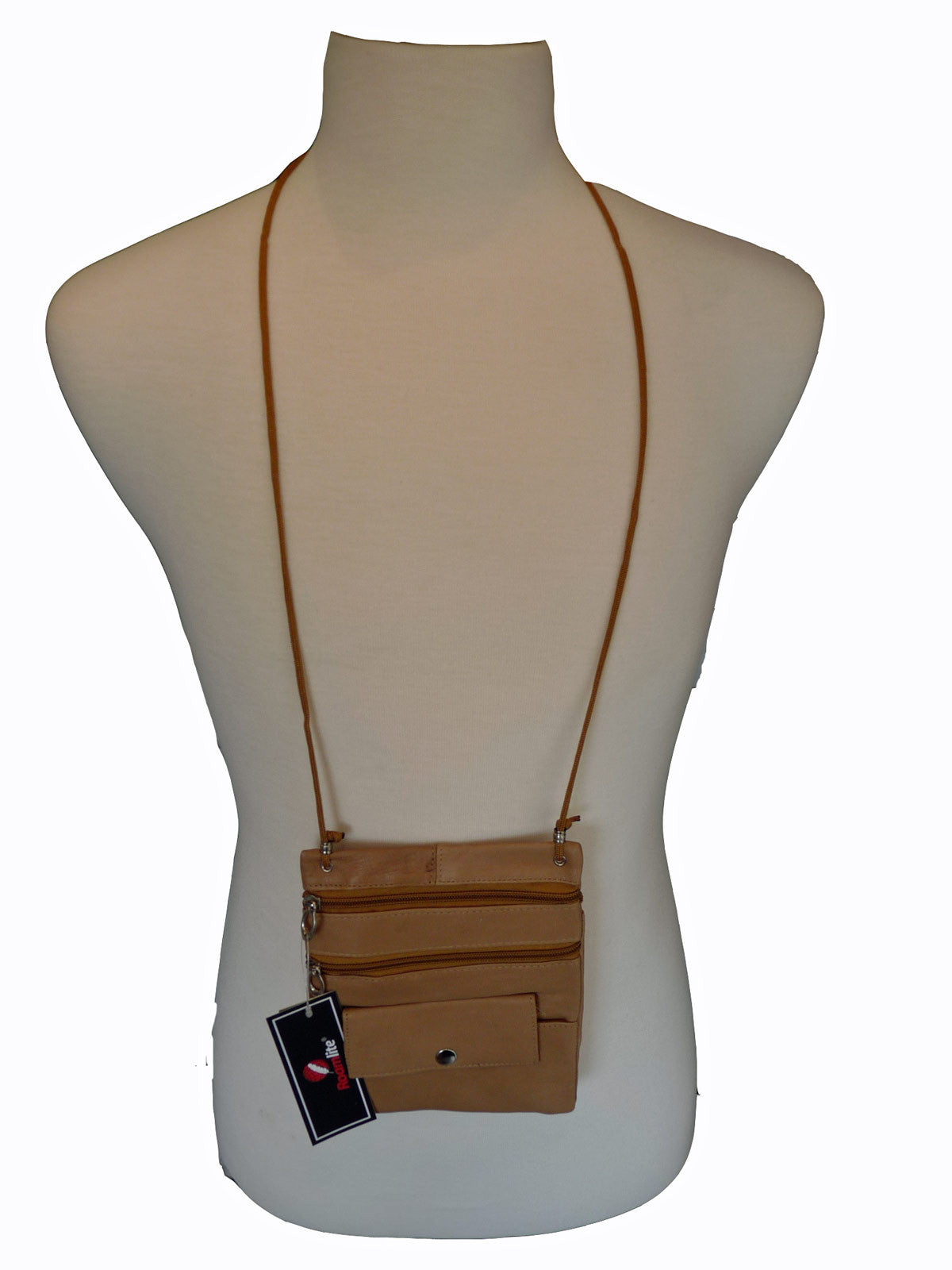 Leather Neck Pouch RL130 Beige Neck View