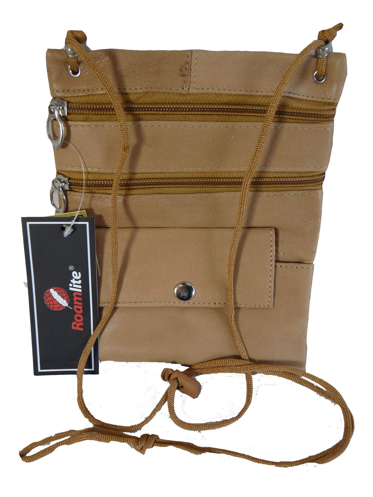 Leather Neck Pouch RL130 Beige Front View