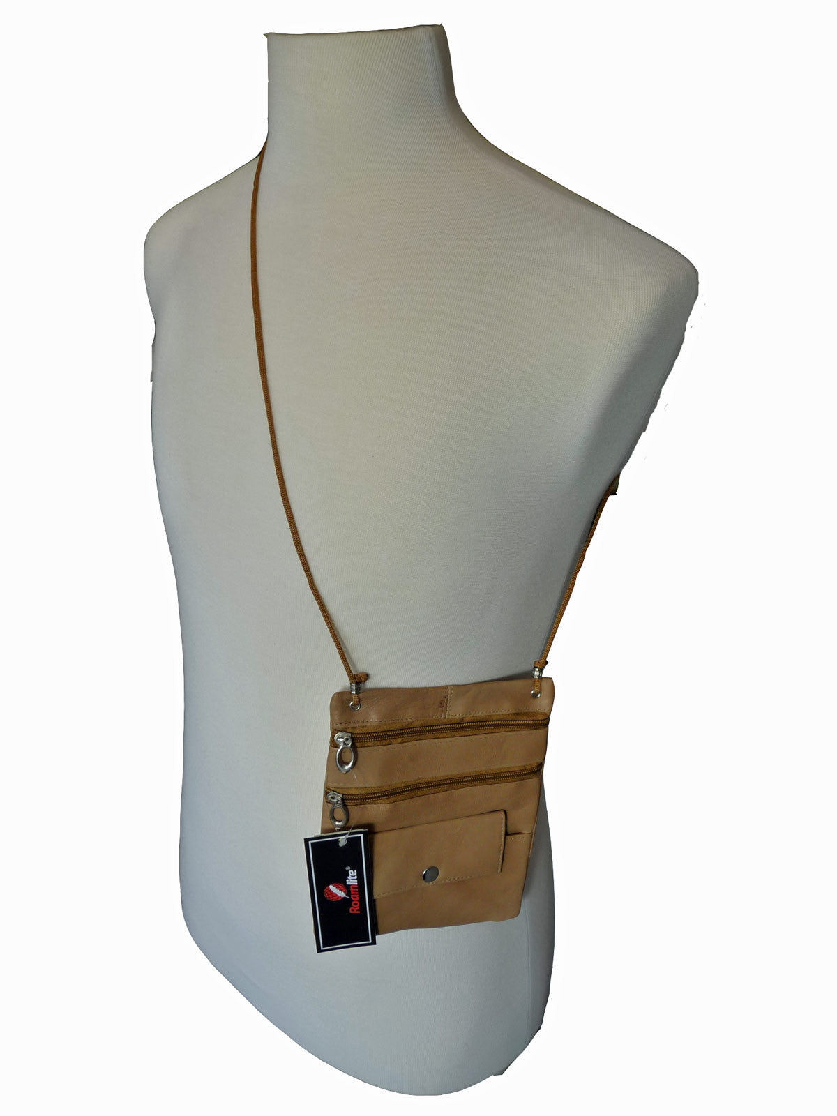 Leather Neck Pouch RL130 Beige Shoulder View