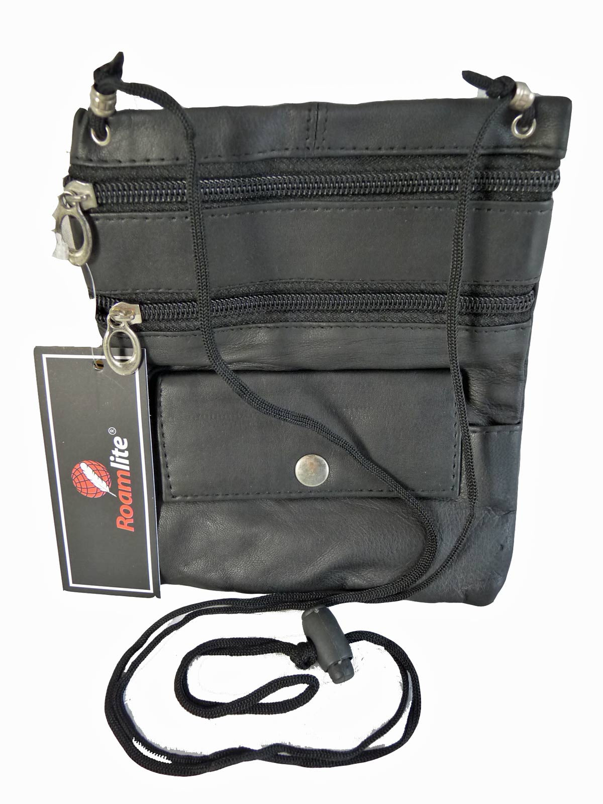 Leather Neck Pouch RL130 Black Front View 2