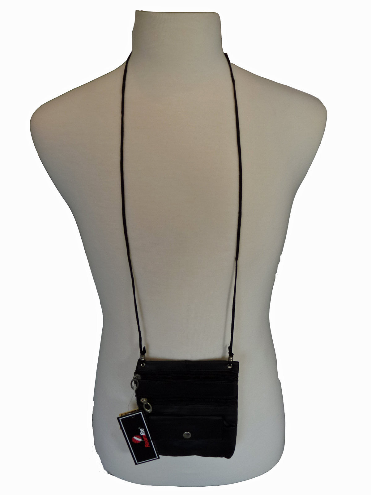 Leather Neck Pouch RL130 Black Neck View