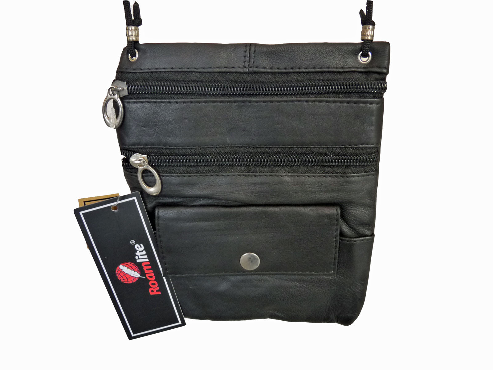 Leather Neck Pouch RL130 Black Front View
