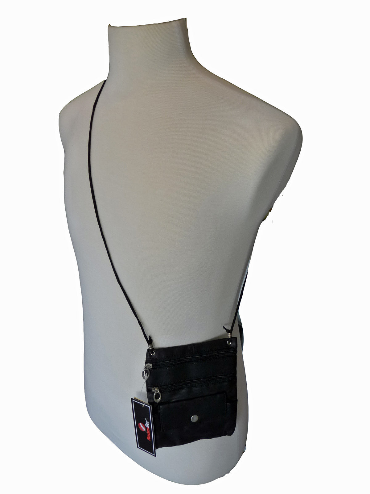 Leather Neck Pouch RL130 Black Shoulder View