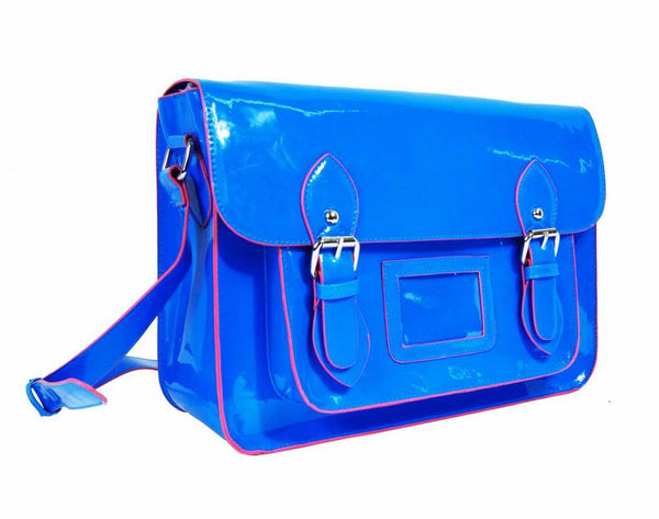 Satchel Patent Leather Girls Cross Body Bag Bags Neon Blue