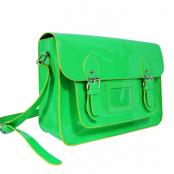 Satchel Patent Leather Girls Cross Body Bag Bags Neon Green