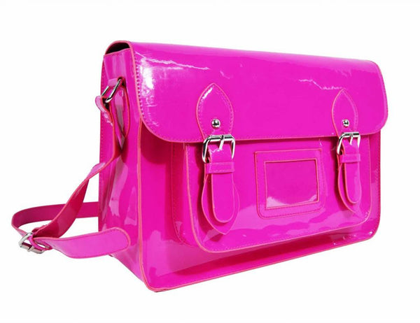 Satchel Patent Leather Girls Cross Body Bag Bags Neon Fuschia