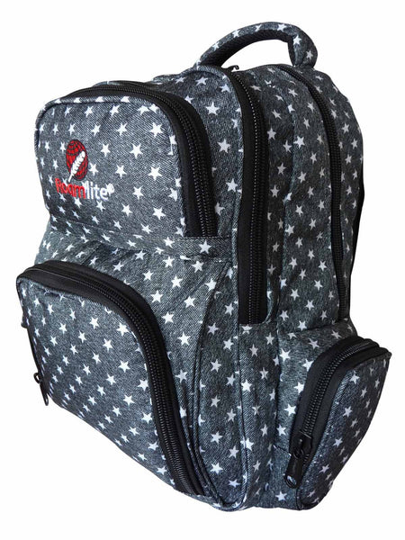 School Backpacks Bags RL88S Charcoal Black Stars