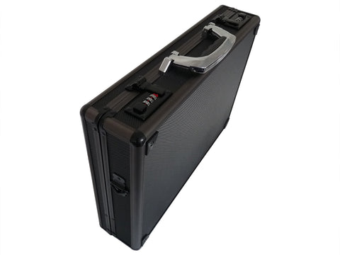 Aluminium Metal Briefcase Black RL17AK flat view