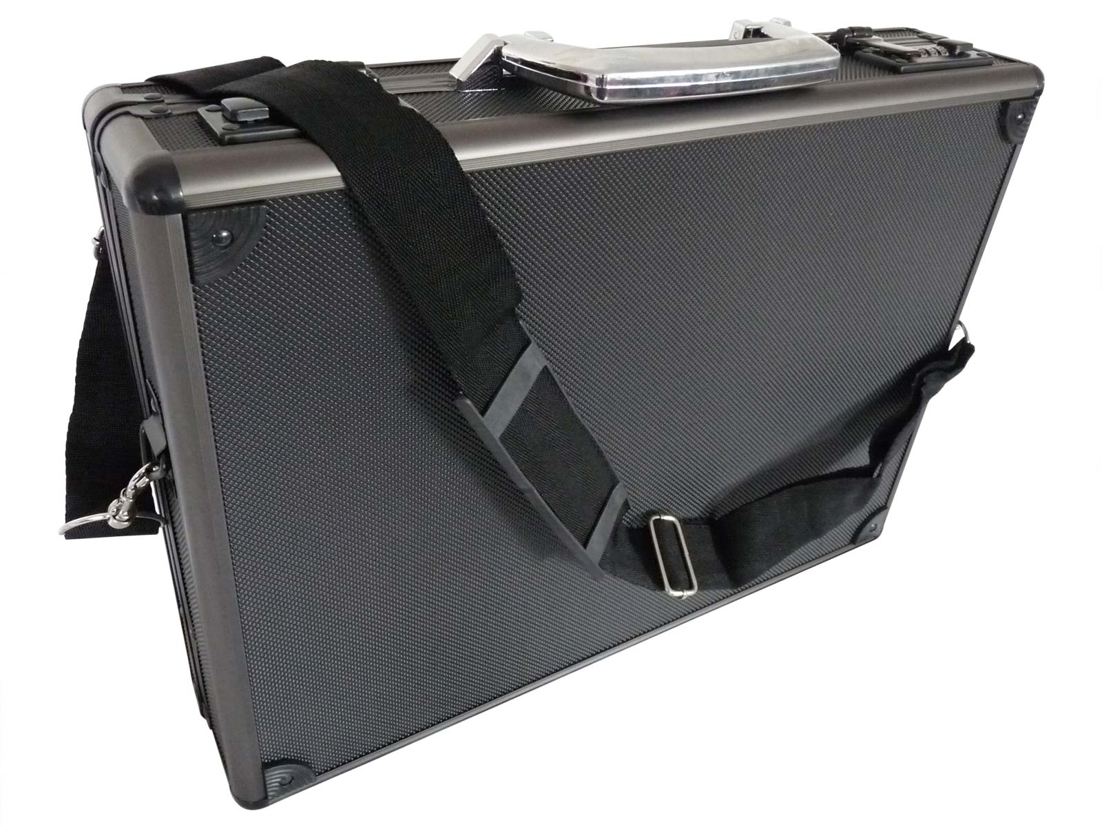 Aluminium Metal Briefcase Black RL17AK strap view