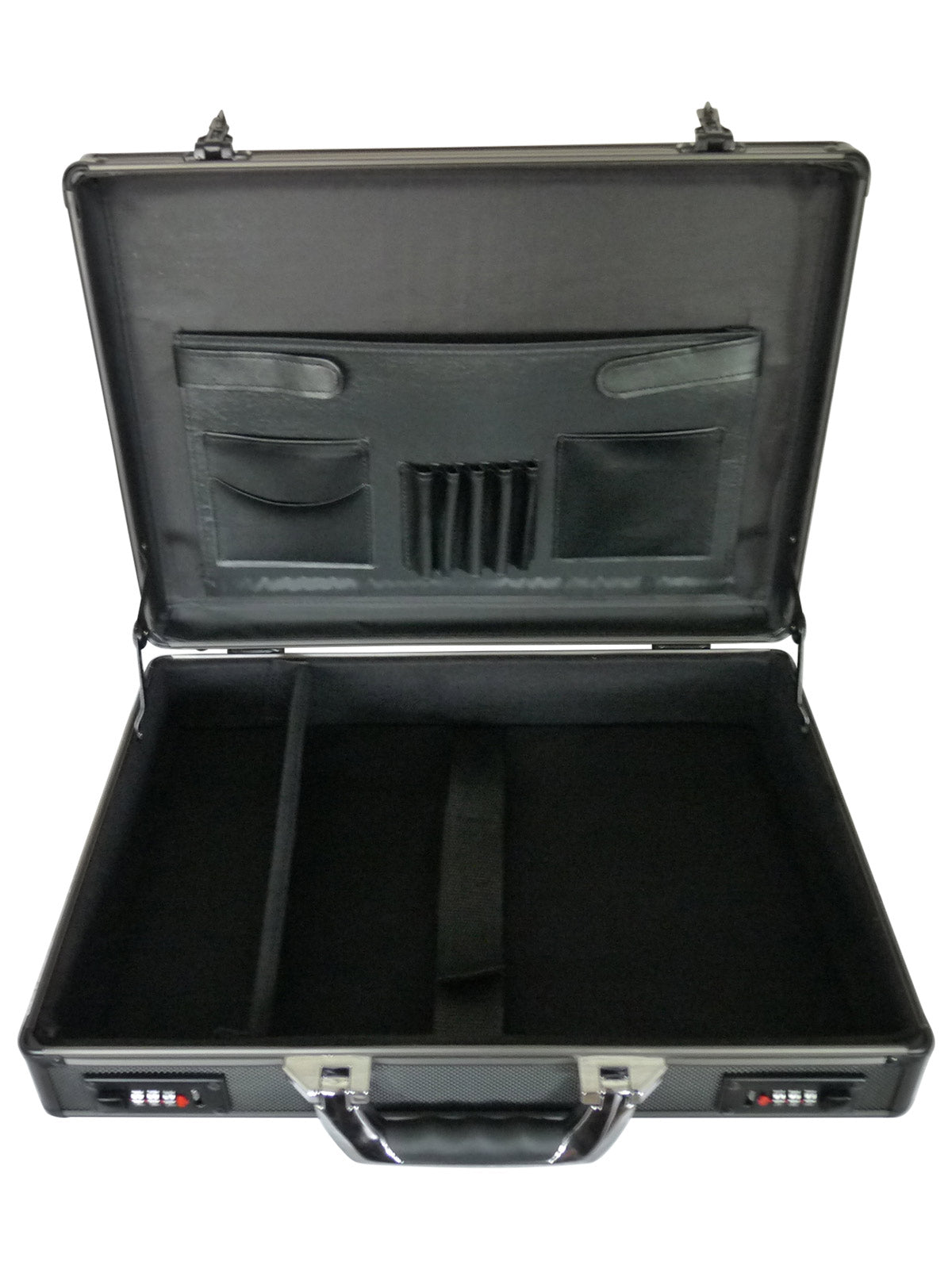 Aluminium Metal Briefcase Black RL17AK open view
