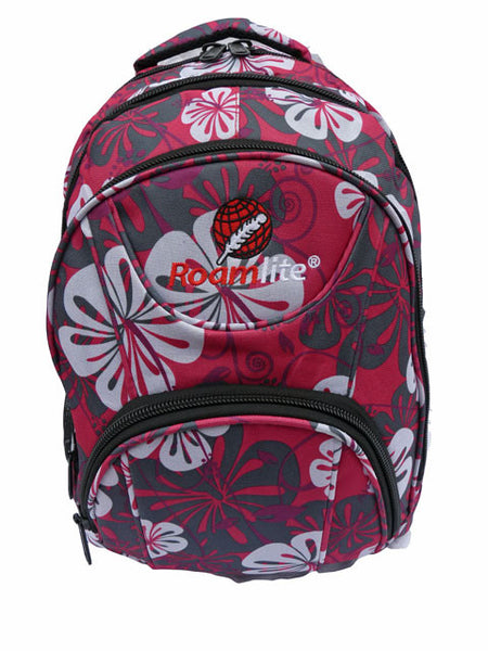 2ba3718f84ae Pink Floral Girls School Size Backpack Rucksack bag RL82 front view