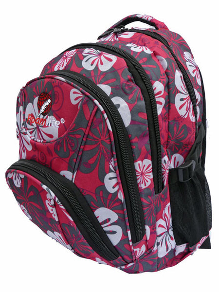 1bb228907fed Pink Floral Girls School Size Backpack Rucksack bag RL82 side view