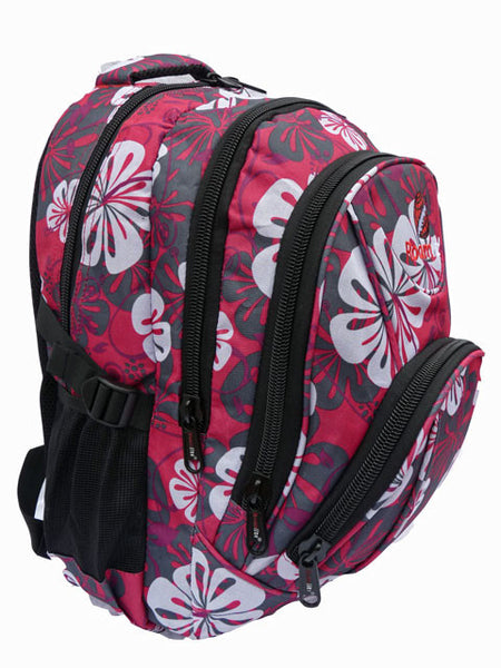 f3e78bb30f37 Pink Floral Girls School Size Backpack Rucksack bag RL82